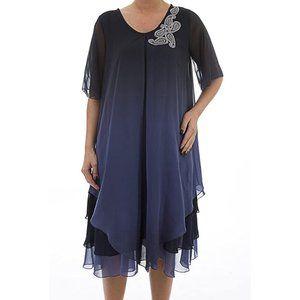 Plus Size Chiffon Dress with Layers - La Mouette